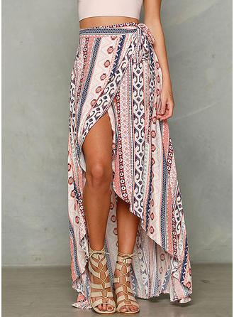 Polyester Print Maxi High-Slit Skirts A-Line Skirts