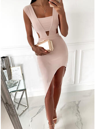 Solid Sleeveless Bodycon Asymmetrical Sexy/Party Dresses