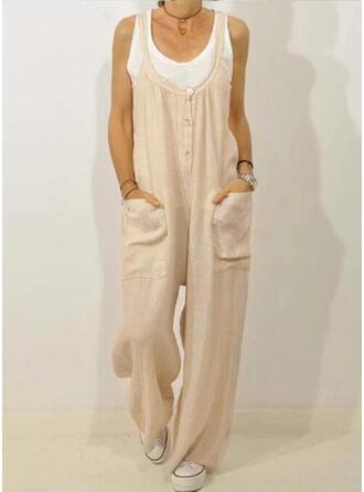 Solid Pockets Shirred Plus Size Long Casual Elegant Long Pants