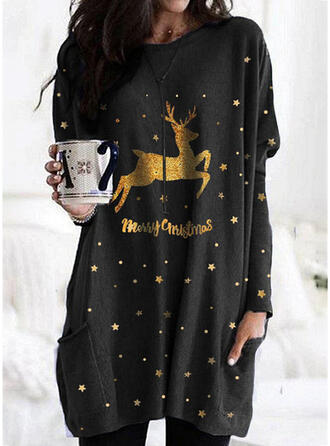 Animal Print Figure Round Neck Long Sleeves Christmas Sweatshirt
