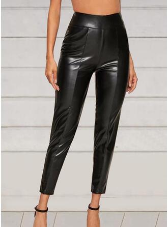 Solid Patchwork Elegant Sexy Leather Vintage Pants