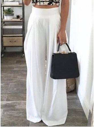Bolsillos Fruncido Largo Casual Elegante Sexy Pantalones