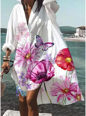 Print/Floral/Animal Long Sleeves Shift Knee Length Casual/Vacation Dresses