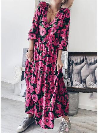 Impresión/Floral Mangas 3/4 Tendencia Casual Maxi Vestidos