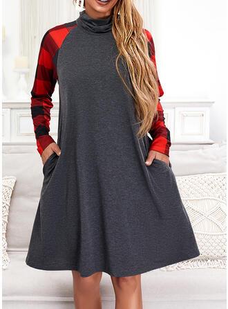 Plaid Long Sleeves Raglan Sleeve Shift Knee Length Casual Tunic Dresses