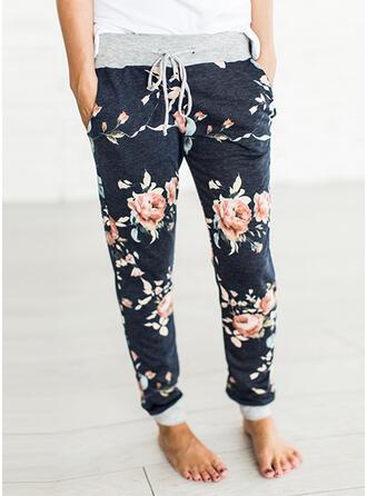 Floral Bolsillos Cordón Largo Boho Casual Pantalones