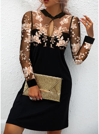Print/Floral Long Sleeves Shift Above Knee Party/Elegant Dresses