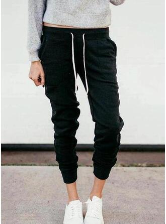 Fruncido Cordón Largo Casual Deportivo Llanura Pantalones