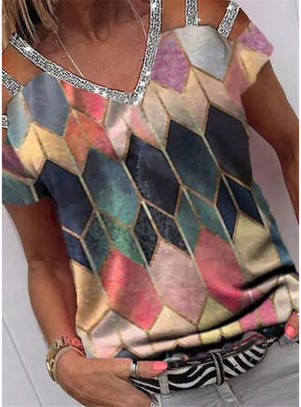 Geometric Print Sequins Cold Shoulder Short Sleeves Casual Blouses