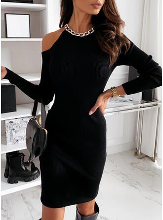 Solid Long Sleeves/Cold Shoulder Sleeve Bodycon Knee Length Little Black/Elegant Dresses