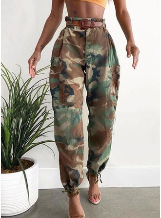 Bolsillos Talla extra Camuflaje Largo Casual Sexy Pantalones