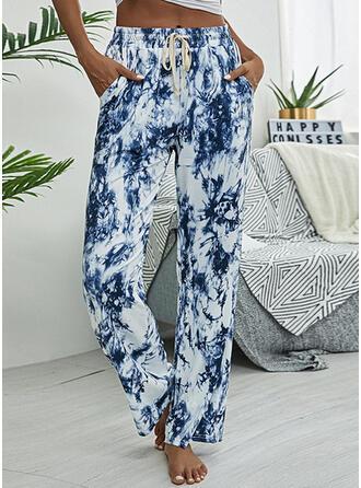 Impresión Cordón Largo Casual Deportivo Pantalones