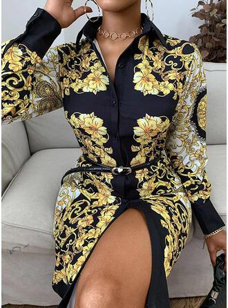 Print/Floral Long Sleeves Sheath Knee Length Vintage Dresses