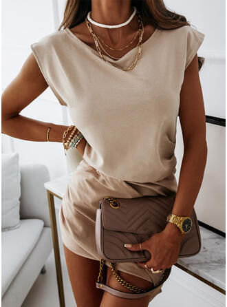 Solid Short Sleeves Cap Sleeve Bodycon Above Knee Casual Dresses