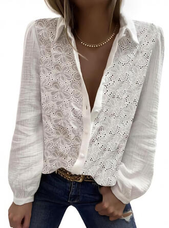 Solid Floral Lapel Long Sleeves Button Up Casual Shirt Blouses