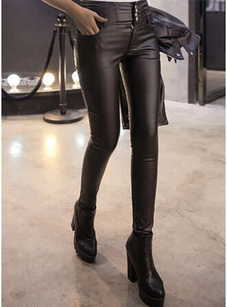Solid Sexy Leather Vintage Leggings