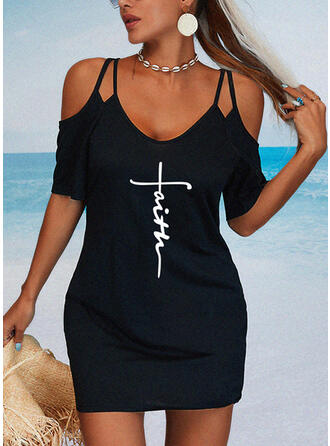 Print/Letter 1/2 Sleeves Sheath Above Knee Casual/Vacation Dresses