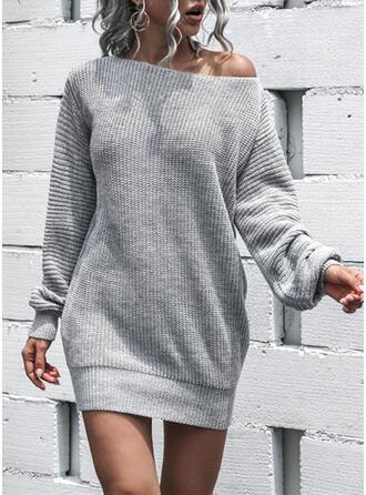 Sólido Cuello Redondo Sexy Vestido de Suéter