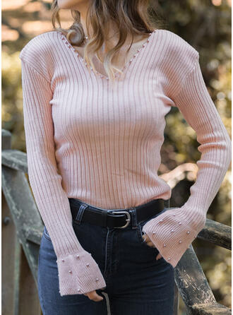 Solid Beaded V-Neck Flare Sleeve Long Sleeves Casual Knit Blouses