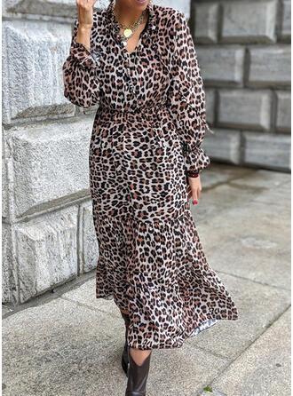 Leopardo Manga Larga Acampanado Casual Maxi Vestidos