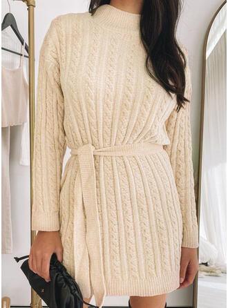 Sólido Punto De Cable Cuello de Soporte Casuales Largo Vestido de Suéter