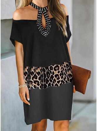 Color Block/Leopard/Beaded Short Sleeves Shift Knee Length Elegant Dresses