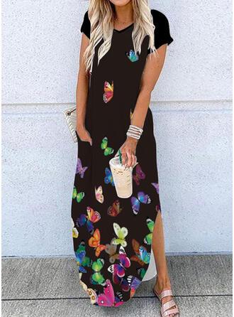 Print/Animal Sleeveless Shift Casual Maxi Dresses