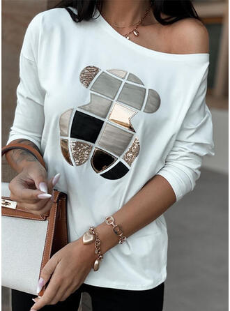 Print Sequins Round Neck Long Sleeves Casual T-shirts