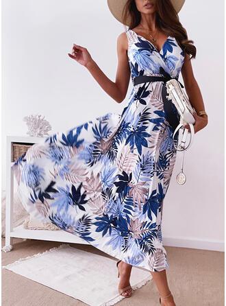 Print Sleeveless A-line Wrap/Skater Casual/Vacation Midi Dresses