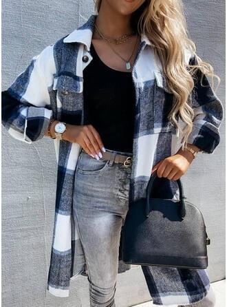 Knit Long Sleeves Plaid Wide-Waisted Coats
