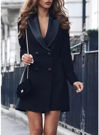 Sólido Manga Larga Cubierta Sobre la Rodilla Pequeños Negros/Casual/Elegante Vestidos