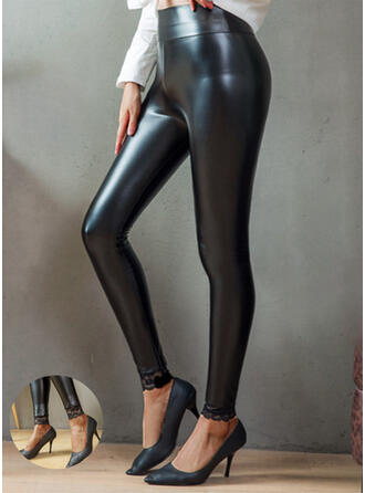 Solid Lace Patchwork Plus Size Sexy Leather Vintage Leggings