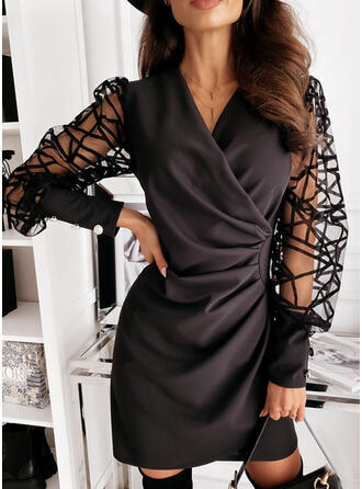 Solid Long Sleeves/Lantern Sleeve Bodycon Above Knee Little Black/Party Dresses