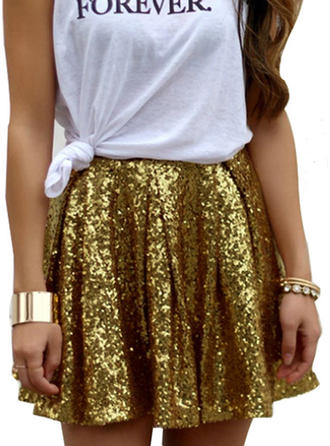 Algodón Lentejuelas Mini Faldas A-Line