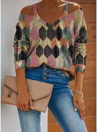 Geometric Print Cold Shoulder Long Sleeves Casual Blouses