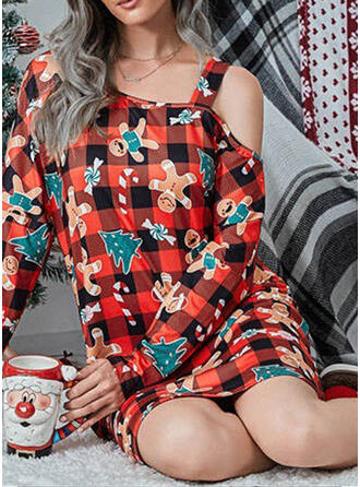 Polyester Long Sleeves Cartoon Christmas Grid Night Dress