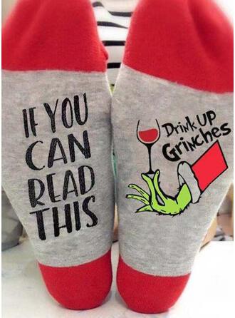 Letter/Print Comfortable/Christmas/Crew Socks/Unisex Socks