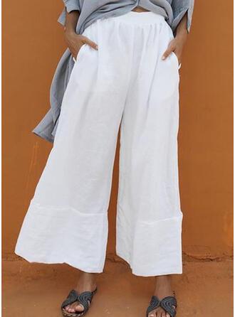 Patchwork Fruncido Talla extra Largo Boho Casual Pantalones