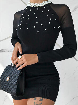 Solid Beaded Round Neck Casual Sexy Sweater Dress