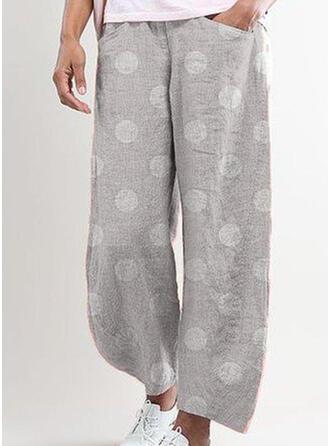 Lunares Bolsillos Fruncido Talla extra Largo Boho Casual Impresión Pantalones