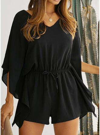 Solid V-Neck Long Sleeves Batwing Sleeves Casual Romper