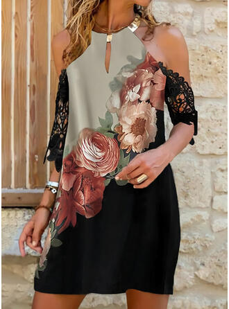 Lace/Print/Floral/Color Block 3/4 Sleeves Shift Above Knee Casual/Vacation Tunic Dresses