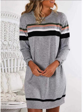 Striped Round Neck Casual Sweaters
