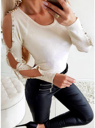 Solid Beaded Cold Shoulder Long Sleeves Casual Knit Blouses
