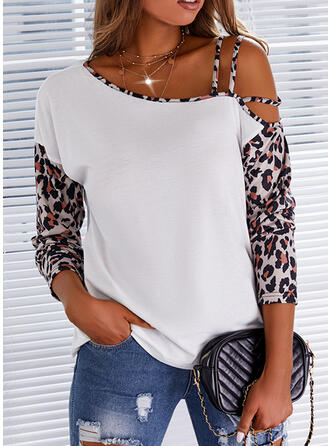 Print Leopard One Shoulder 1/2 Sleeves Casual Blouses