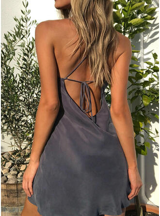 Solid Sleeveless Sheath Above Knee Sexy/Casual/Party/Vacation Slip Dresses