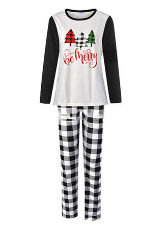 Cotton Long Sleeves Christmas Grid Pyjama Set