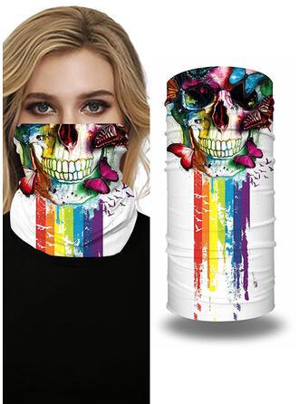 Respirable/Protector/Cobertura completa/Multifuncional/Sin Costura/A prueba de polvo/Impresión del cráneo/Halloween Bandanas