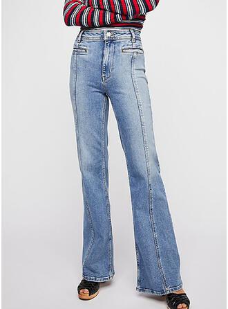 Patchwork Elegant Plain Denim & Jeans