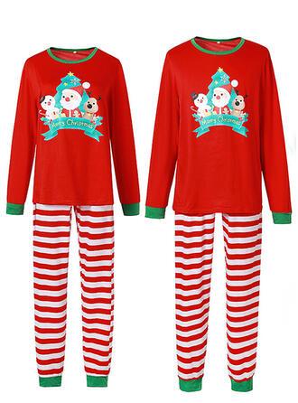 Santa Striped Cartoon Family Matching Christmas Pajamas